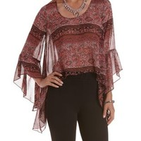 Rose Combo Sheer Paisley Bell Sleeve Trapeze Top by Charlotte Russe