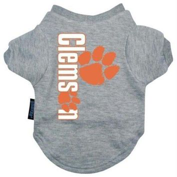 spbest Clemson Tigers Heather Grey Pet T-Shirt