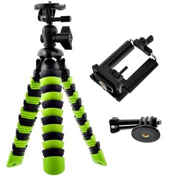 Flexible Tripod For iPhone Samsung, or Camera, GoPro Tripod Holder Ball Head and Level Bundle
