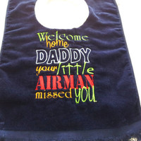 Military Air Force Baby Bib Boy or Girl Made to Order Embroidered Unisex
