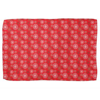 Festive Snowflakes Pattern Christmassy Red Hand Towels