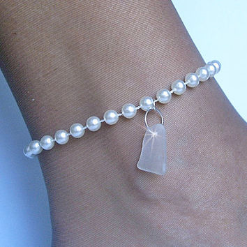 Pearl Anklet. Sea glass anklet. Beach sea glass jewelry.