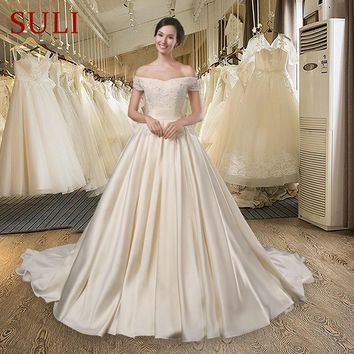 f67c327211f SL-027 Boat Neck Lace Pearls Short Sleeves Satin Champagne Long. Item Type   Wedding Dresses Back ...