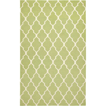2' x 3' Light Green Lattice Area Rug in 100-percent New Zealand Wool