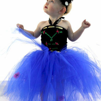 Princess Anna Frozen inspired tutu dress Blue costume dress up birthday party photo prop snowflake 12-18-24 2T 3T 4T 5T 6 7 8 9 10 11 12 14