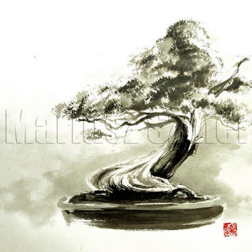 Bonsai tree bonsai pot pine tree wall decor asian art live bonsai japanese painting fine art print pine tree art bonsai stand sumi-e ink