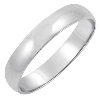 Men's 14K White Gold 4mm Traditional Fit Plain Wedding Band (Available Ring Sizes 7-12 1/2)