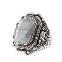 Silver Marbled Statement Cocktail Ring by Charlotte Russe