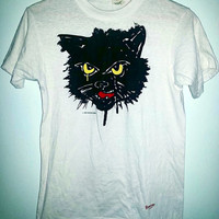 80s Vintage Cat TShirt by Screen Stars Made in USA Tee Shirt Tees Grunge - Color White with Black Cat - Size Medium