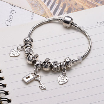 Women's Bracelets Lock Key Series 925 Sterling Silver Love Heart Skull Fits For Women Murano Glass Magnet Jewelry Pulseira