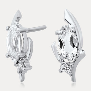 925 Silver Earrings with White Topaz