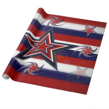 Tricolor Stars Stripes Wrapping Paper