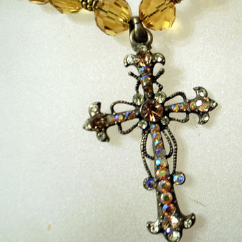 Vintage Rhinestone Cross With Golden Swarovski Crystal Necklace - Fleur de Lis -You are God's Sunshine Pendant Necklace