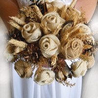 "Country Wedding Bouquet, Burlap and Wheat Bridal or Bridesmaid Bouquet. Now available in 6"", 8"" or 10"".Made to Order."