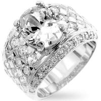 Silver Oval Cubic Zirconia Ring, size : 14