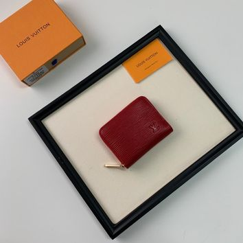 HCXX 19June 539 Louis Vitton LV Classic Leather Wallet red