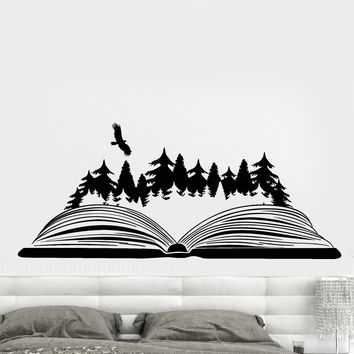 Vinyl Wall Decal Open Book Magic Forest Bird Nature Fairy Tale Stickers Unique Gift (1835ig)