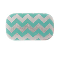 Turquoise and Silver Glitter Chevron Stripe Contact Lens Case