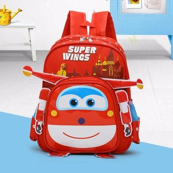2018 new Super Wings Cute Kid School bags Cartoon Character 3D Style Children Backpacks Kindergarten girls boys baby backpack