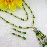 NDSU Bison necklace and earring set, North Dakota State University necklace, green & gold necklace, collegiate jewelry