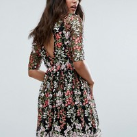 Club L Floral Embroided All Over Skater Dress at asos.com