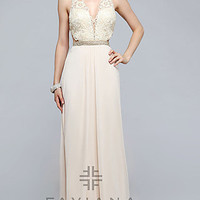 V-neck Long Prom Dress with Open Back by Faviana