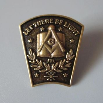 Antique Bronze LET THERE BE LIGHT Masonic Lapel Pin