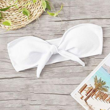 Ribbed Knot Front Bandeau Swimming Top