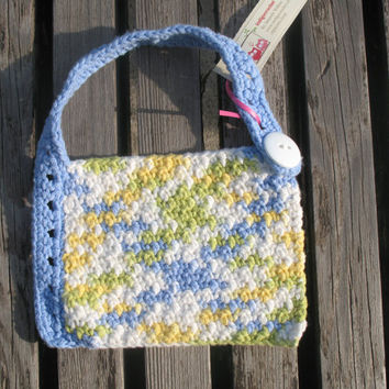 Multicolor Green White Yellow Blue Cotton Crocheted Baby Bib
