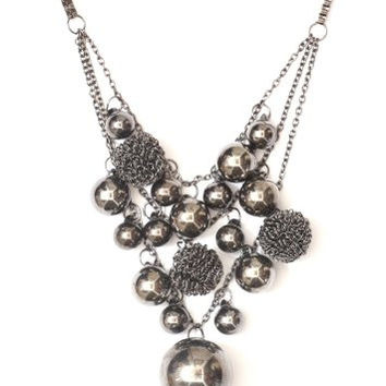 Bubble Cluster Statement Necklace Gun Metal Silver Tone NB04 Chrome Spheres Ball Bearing Fashion Jewelry