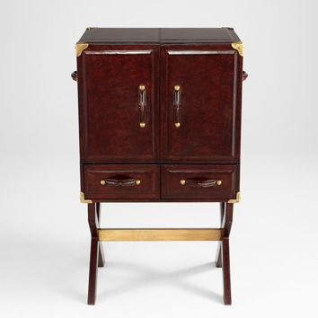 Hutch Cabinet Chocolate Mahogany 2-Door Accent Table