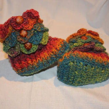Ready to be shipped/Handmade Crochet RAINBOW Baby Crocodile Stitch Booties / Size 6 to 12 months