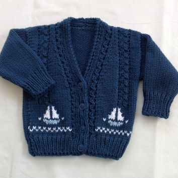 Baby boy's knit cardigan with sailboat motifs, Toddler knit cardigan, Baby shower gift