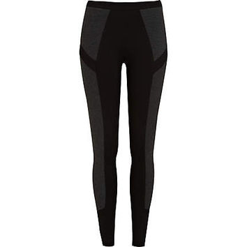Black contrast panel leggings - leggings - pants - women