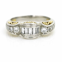 Tacori Baguette Diamond Band in Platinum and 22k Gold