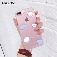 USLION Cute Cartoon 3D White Clouds Phone Case For iPhone 7 Plus Transparent Soft TPU Cases Clear Back Cover For iPhone7