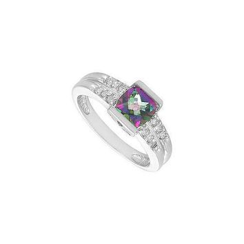 Mystic Topaz and Diamond Ring : 14K White Gold - 1.66 CT TGW