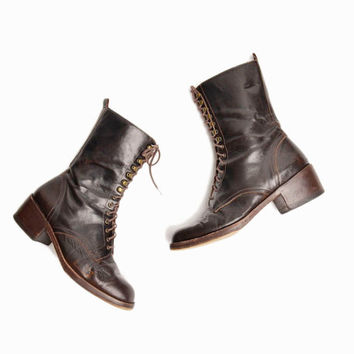 Vintage 90s DKNY Lace-up Leather Boots in Espresso Brown - women's 6.5