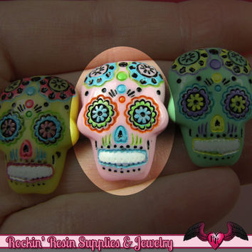 3 pc Pink SUGAR SKULL Day of The Dead Flatback Decoden Cabochons 20x17mm