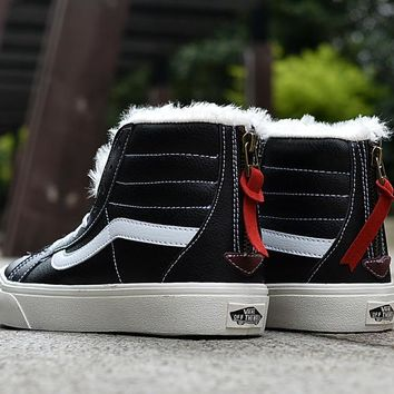 LMFON Vans Black High Top Leather With Fur Warm Casual Zipper Sneakers Sport Shoes