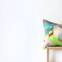 "Khaki Geometric Pillow Cover with Colorful Chevrons -  45cm Cushion - 18""x18"" Cushion Cover"