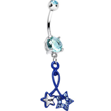 Aqua Double Gem Twin String of Blue Stars Dangle Belly Ring