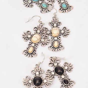 Antiqued Silver Cross Earrings