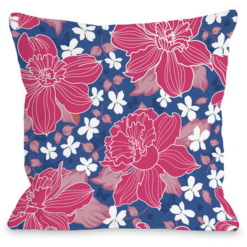 """Exotic Flowers"" Indoor Throw Pillow by OneBellaCasa, Blue, 16""x16"""