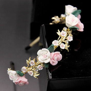 2015 New Arrival Baroque Headband Hairband Colorful Flowers Dg Hair Jewelry Gold Plated Hairwear for Women HY184