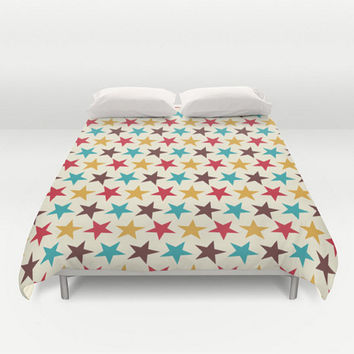 Star Duvet Cover Circus Retro Design Teal Blue Red Gold Full King Queen Size Bed Spread Children's Kids Apartment Home deocr