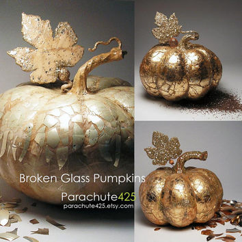 Broken Glass Pumpkin, unique Halloween decor, decoupage pumpkin, recycled materials, broken glass