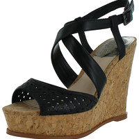 Vince Camuto Ilario Women's Leather Wedge Sandals Cork