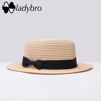 Straw Boater with Bowknot Hat