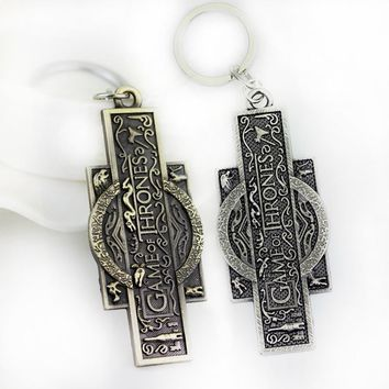 SG Fashion Jewelry Simple Game Of Thrones Souvenir Keychain High Quality 2 Color Keyring Pendant Gift For Men Friends